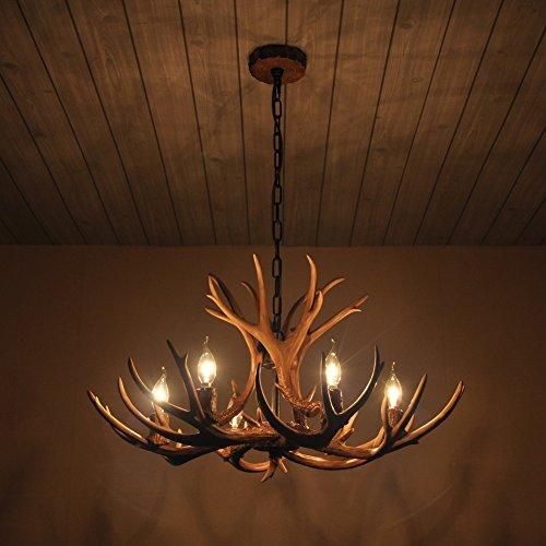 Shengdi corno di cervo 6-Light ferro industriale vintage lampadario a soffitto della lampada della lampada per Ristorante balcone Camera con paralume 1017C-6-1fr (Coffee)