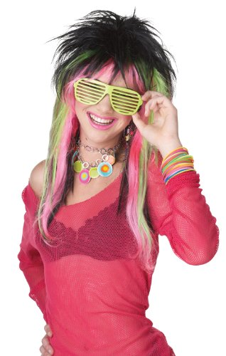 California Costumes Lime Pink Rave Candy Wig, Black/Lime/Pink, One Size - 1