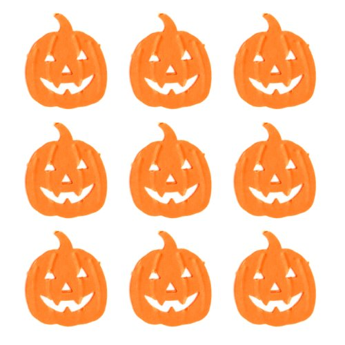 Dress My Cupcake DMCE942T Dessert Picks and Cupcake Toppers DIY Kit, Halloween Pumpkins Jack O Lanterns, Orange, Set of 30