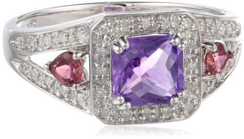 Sterling Silver Classic Amethyst Pink-Tourmaline Diamond Ring (1/10 cttw, I-J Color, I2-I3 Clarity), Size 7