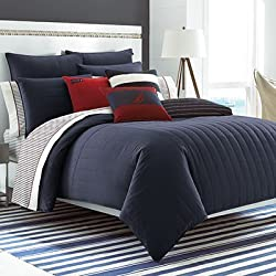 Nautica Mainsail Navy Quilted Comforter Set with Logo Patch, Full/Queen, Blue