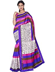 Aadarshini Women's Raw Silk Saree (110000000442, Off White & Violet)
