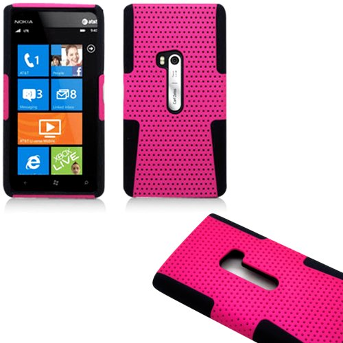 Mylife (Tm) Rose Pink And Deep Raven Black Perforated Mesh Series (2 Layer Neo Hybrid) Slim Armor Case For The Nokia Lumia 920, 920.2, 920T And 920 4G Camera Smartphone By Microsoft (External Rubberized Hard Shell Mesh Piece + Internal Soft Silicone Flexi