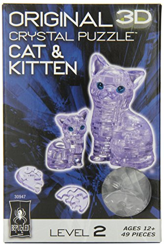 Original 3D Crystal Puzzle - Cat & Kitten Clear