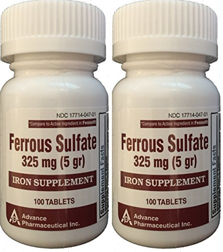 Ferrous Sulfate Iron Supplement 325 mg (5GR) Generic for Feosol Red Tablets 100 Tablets per Bottle Total 200 tablets by ADVANCE PHARMACEUTICAL (Iron Tablets 325 Mg compare prices)