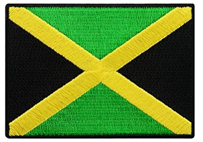 Jamaica Flag Embroidered Patch Rasta Jamaican Iron-On Rastafarian National Emblem