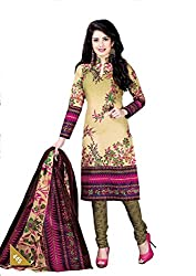 Pruthu Women's Cotton Unstitched Dress Material (pt_445_Beige_Free Size)