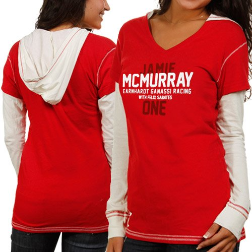 Chase Authentics Jamie McMurray Ladies Double Layer Hooded Long Sleeve Premium T-Shirt - Red/White (Large)
