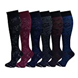 6 Pairs Pack Women Dr Motion Graduated Compression Knee High Socks (Assorted Floral)