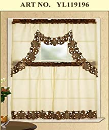 3 Piece Taupe with Brown Embroidered Sparkle Lace Kitchen/cafe Curtain Tier and Swag Set