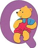 Wooden alphabet letter Q with teddy bear design