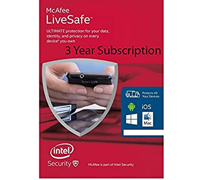 McAfee LiveSafe - 3 Year subscription Unlimited Licenses [NO CD/DVD] Download version only