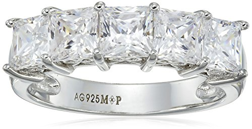 Platinum Plated Sterling Silver Swarovski Zirconia 3 cttw Princess Cut 5 Stone Ring