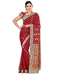Designer Fashionable Maroon Colored Embroidered Faux Georgette Saree By Triveni