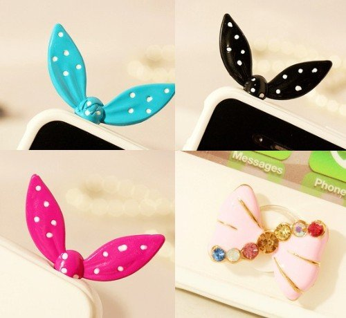 Blingy'S Polka Dot Metal 3.5Mm Rabbit Ears Earphone Jack Accessory/ Dust Plug / Ear Jack For For Iphone/ Samsung / Ipad / Ipod Touch 3-Pack Combo Set (Blue/Rose Pink/Black)-That Also Comes With A Pink Crystal Bow Home Button Sticker(Twist Lightly To Inser