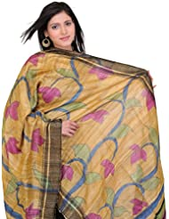 Exotic India Golden-Apricot Dupatta With Printed Flowers - Multi-Coloured
