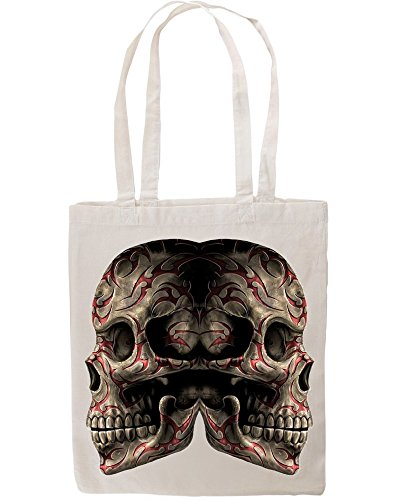 Symetric Two Skull Heads Tote Shopping Bag