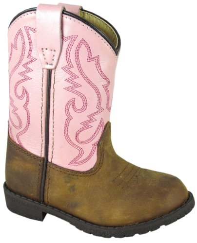 Smoky Mountain 3246 Toddlers'S Hopalong Leather Boot In Brown Distress/Pink Toddler'S 8 M Us