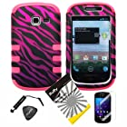 4 items Combo: ITUFFY LCD Screen Protector Film + Mini Stylus Pen + Case Opener + Black Pink Purple Zebra Design Rubberized Hard Plastic + Soft Rubber TPU Skin Dual Layer Tough Hybrid Case for Samsung Galaxy Centura S738C / Samsung Galaxy Discover S730G (Straight Talk / Net10/ TracFone)