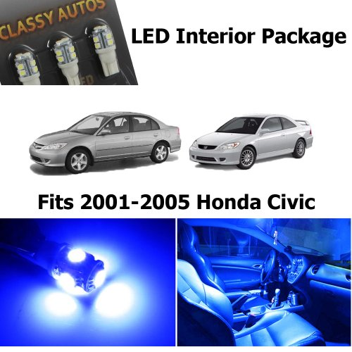 Classy Autos Honda CIVIC BLUE Interior LED Package (6 Pieces)