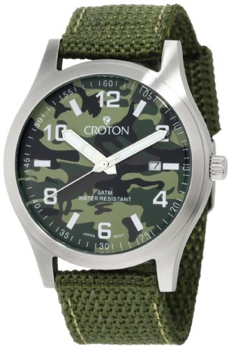Croton Men'S Ca301234Lggr All Stainless Camouflage Dial Date Watch