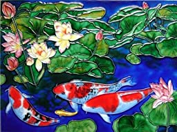 Continental Art Center AD-0192 12 by 16-Inch Koi Fishes Ceramic Art Tile