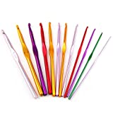 12 Sizes Aluminum Crochet Hook Needles Set in Pouch (Color: Multi)
