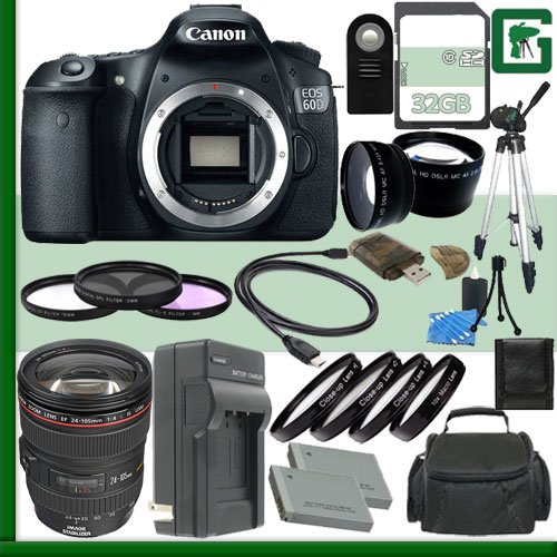 Canon Eos 60D Digital Slr Camera And Canon 24-105Mm Lens + 32Gb Green'S Camera Package 2