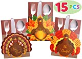 JOYIN 15 Count Thanksgiving Cutlery Holder Set for Thanksgiving Turkey Utensil Décor, Autumn Fall Harvest Party Favor Supply Table Decoration, Thank You Cards.
