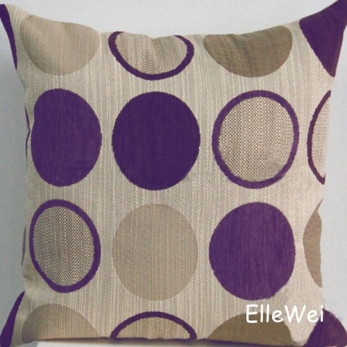 Lowest Prices! Decorative Purple Circle Chenille Throw Pillow Cover (One Side)