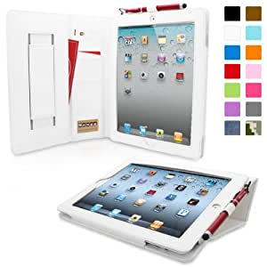 iPad 2 Case, Snugg™ - Executive Smart Cover With Card Slots & Lifetime Guarantee (White Leather) for Apple iPad 2