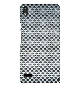 PrintVisa Iron Mesh Pattern 3D Hard Polycarbonate Designer Back Case Cover for Huawei Acend P6
