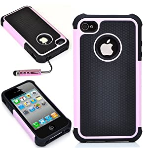 ATC Masione(TM) Green/Black Triple Defender Layer Hybrid Combo Hard Case Cover Soft Gel Skin for iPhone 4 4s 4th with Screen Film Protectors & Stylus (Pink+Black)