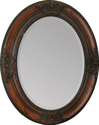 Ren-Wil Ren-Wil Hand Carved Solid Wood Wall Mirror - 24W X 30H In., Brown, Wood front-639085