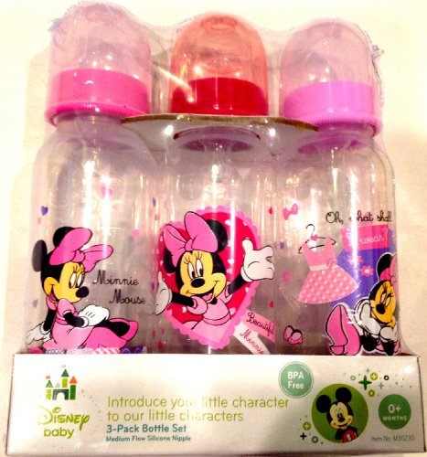 Disney Baby 3-pack 9oz Bottle Set Pink Minnie Mouse BPA Free 0+ Months Medium Flow - 1