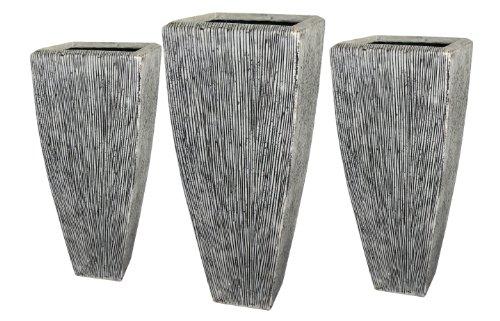 Screen Gems Sandstone Ribbed Long Squareuare Planter Three Piece Set SGS3105-3107