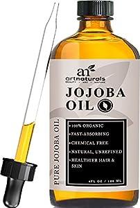 ArtNaturals Organic Jojoba Oil, 100% Pure Virgin Cold Pressed Unrefined Organic Jojoba Oil (4oz), Best For Sensitive, Acne Prone Skin - Benefits The Face & Hair, Similar To Argan Oil, Without The Odor