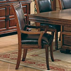 Set of 2 old west style solid wood dining arm for Wood dining chairs with leather seats