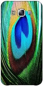 Snoogg peacock feather closeup Hard Back Case Cover Shield ForSamsung Galaxy E5
