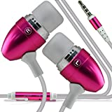 Direct-2-Your-Door - Acer Liquid Z4 Premium Quality in Ear Buds Stereo Hands Free Headphones Headset with Built in Microphone Mic & On-Off Button - Hot Pink