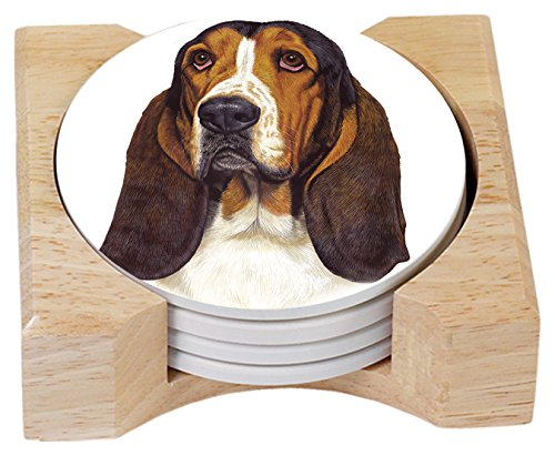Counter Art Absorbent Coasters Basset Hound In Wooden Holde , Set of 4