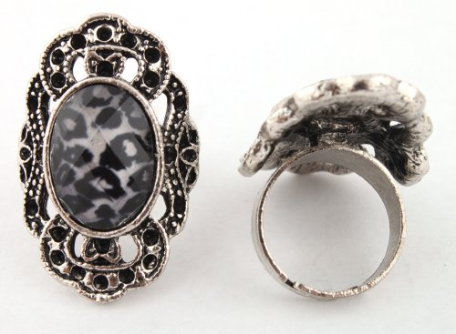 Ladies Silver Antique Round Style with Leopard Print Oval Center Metal Adjustable Finger Ring