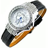 Miler Women's Genuine Leather Crystal Fashion Watch