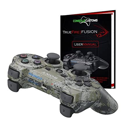 PS3 Urban Camo TrueFire-Fusion Rapid Fire modded Controller with DROP SHOT, QUICKSCOPE, JITTER, AUTO AIM; COD MW3, Black Ops