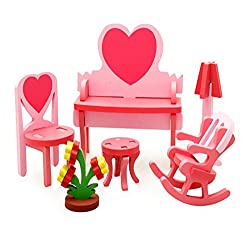 Cute Kids Colorful Play House Toys Set Wooden Assembling Furniture Toys Pink