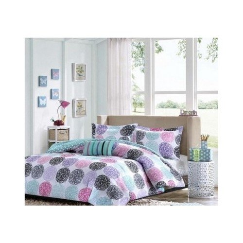 Full/Queen Reversible Comforter Set Pink Teal Purple Bedding Teen Girls Pillows back-6032