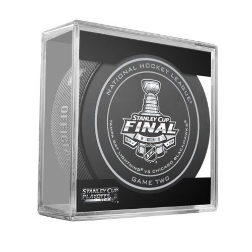 2015 NHL Stanley Cup Final Game 2 Puck in Acrylic Cube - Tampa Bay Lightning VS Chicago Blackhawks