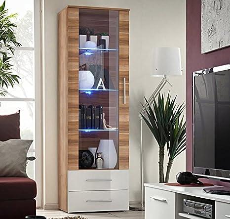 Muebles Bonitos – Vitrina Albes cuerpo color madera ciruelo y frontal Blanco