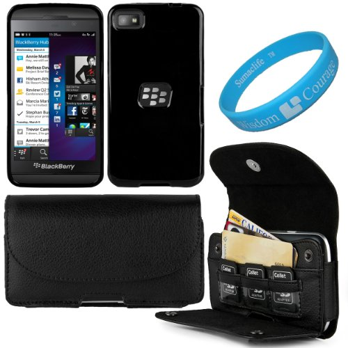 Black Executive Faux Leather Wallet Holster Case With Credit Card Slots For Blackberry Z10 Smart Phone + Black Premium Tpu Skin Cover Case + Sumaclife Tm Wisdom Courage Wristband