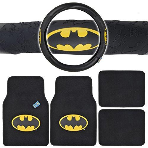 Batman Auto Accessories Interior Kit - Front & Rear Carpet Floor Mats, Steering Wheel Cover (Batman Mats Car compare prices)